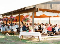 Park Pavilion wedding-- love the hanging flower pots and drapes. No fancy table bench cushions either Yard Wedding, Wedding Reception, Wedding Venues, Table Wedding, Wedding Bells, Campground Wedding, Park Pavilion, Pavilion Wedding, Outdoor Venues