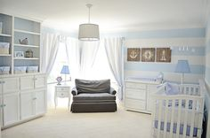 Nautical nursery - love the subtle, wide stripes. #projectnursery #stripes