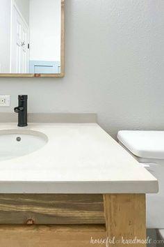 Diy Bathroom Reno, Easy Bathroom Updates, Bathroom Renos, Budget Bathroom, Simple Bathroom, Bathroom Renovations, Diy Concrete Vanity Top, Do It Yourself Bathrooms, Home Projects