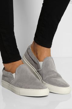 Light-gray rubber sole measures approximately 1 inch Gray suede Stamped serial number at side, white elasticated side tabs, round toe, leather lining Slip on Basket Sneakers, Suede Sneakers, Suede Shoes, Estilo Vans, Looks Style, My Style, Shoe Boots, Shoes Sandals, Fashion Shoes
