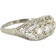 Pre-Owned Antique Deco Diamond Three Stone Filigree Ring 18k White... ($595) ❤ liked on Polyvore featuring jewelry, rings, white gold, round diamond ring, 18k white gold ring, three stone diamond ring, deco diamond ring and filigree diamond ring