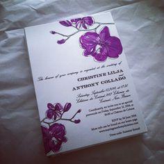 Purple Orchid Invitation #wedding #invitation by Citrus Press Co. #radiantorchid #watercolor #watercolour #beachwedding #tropical #invitations #orchid #purple #lavender #stationery