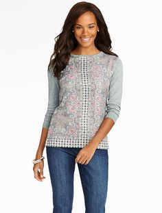 Talbots - Scroll Paisley & Woven-Inset Sweater | New Arrivals |