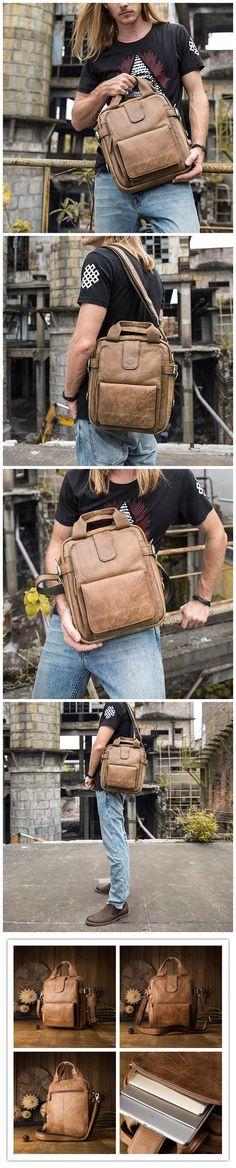 Handmade Men Tote Bag Retro Shoulder Bag Full Grain Leather Messenger Bag JD6831 Canvas Leather, Leather Bags, Men's Totes, Photography Bags, Crossbody Bag, Tote Bag, Leather Briefcase, Messenger Bags, Laptop Bag