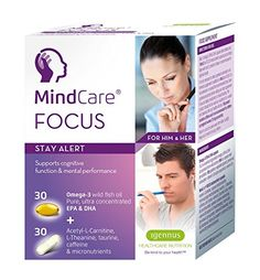 MindCare FOCUS stay alert  omega3 wild fish oil AcetylLCarnitine LTheanine taurine caffeine  multivitamins for brain function  mental performance support 30 omega3  30 micronutrient capsules *** You can find out more details at the link of the image.