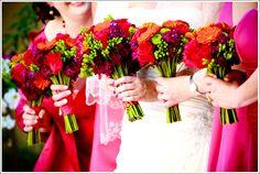 Pink, purple and orange bridal bouquets | villasiena.cc