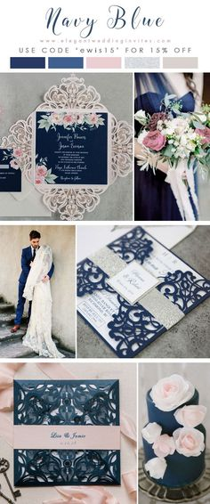 Wedding Ideas Navy blue blush pink and silver wedding invitation collection EWI - Elegant Wedding Invites offers affordable navy or blue wedding invitations in all shades and all styles. We offer high quality, unique designs, and coordinating RSVP cards. Blue And Blush Wedding, Blush Pink Weddings, Navy Silver Wedding, Navy Blue Wedding Theme, Trendy Wedding, Wedding Day, Spring Wedding, Luxury Wedding, Wedding Reception