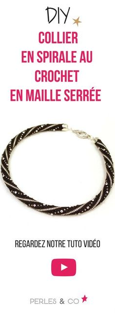 Watch our video tutorial to make a crocheted crochet spiral . Bracelet Crochet, Bead Crochet Rope, Diy Crochet, Peyote Patterns, Beading Patterns, Diy Collier, Beaded Jewelry, Beaded Bracelets, Bracelet Tutorial
