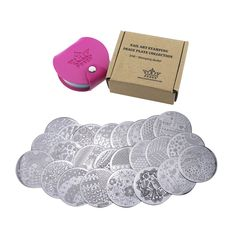 PUEEN Nail Art Stamp Collection Set 24B - STAMPING BUFFET - NEW INVENTION Set of 24 All You Can Stamp Full Size Stamping Image Plates Manicure DIY (Infinite Images With Your Creativity) Now with BONUS Storage Case-BH000017 -- More info could be found at the image url.