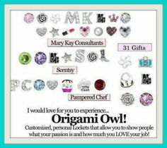 just a few direct sale lockets #scentsy #marykay #thirtyone #pamperedchef   Go see everything available at JudyRichardson.origamiowl.com