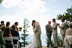 Beautiful Mountain top Ceremony venue at Blue Sky Terrace at Heavenly Mountain Resort in Lake Tahoe, CA. Photo by Kelley Jordan Photography. www.kelleyjordanphotography.com #mountain wedding  http://www.iconicweddings.com/Destinations/Heavenly.aspx