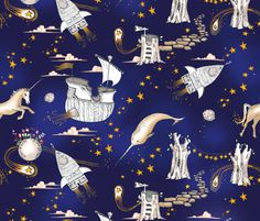 The Enchanted Universe (in ink) fabric by nouveau_bohemian on Spoonflower - custom fabric