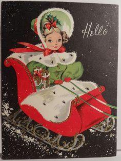 1870ab288db Pretty Girl in The Sleigh Vintage Christmas Christmas Sled
