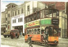 MARYHILL bus A selection of J Mcnee pictures Road Transport, Uk History, West End, Vintage Travel Posters, Coaches, Watercolours, Buses, Glasgow, Britain