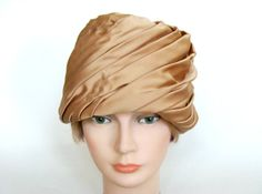 Light Brown Silky Swirled Pleated Turban Hat Union by Spartinas