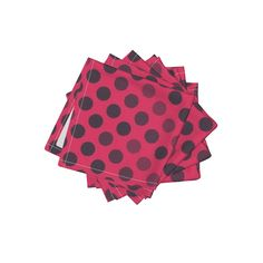 Frizzle Cocktail Napkins featuring Hot Pink & Navy Patterned Dots by websterfiberarts | Roostery Home Decor