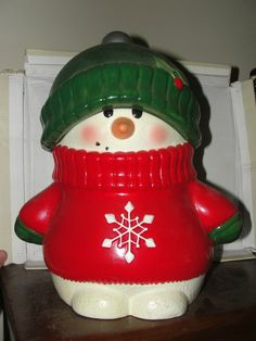 Snowman Cookie Jar made in China by Hallmark