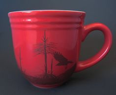 Crow Raven Mug - Red Ceramic Coffee Mug - Decal Transfer.  Etsy.