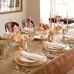 Splurge On Linens | The Champagne-colored cotton velvet tablecloth adds a luxurious feel.