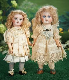 Petite Wide-Eyed Sonneberg Bisque Doll Resembling Early Portrait Jumeau Bebe and Sonneberg Bisque Doll with Closed Mouth in the French Manner.