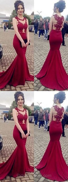 Lace Prom Dresses,Red Prom Dresses,Long Prom Dresses,Trumpet/Mermaid Prom Dresses Scoop Neck, Tulle Silk-like Satin Prom Dresses Appliques #lacedresses