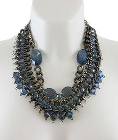 Die Must Haves der Saison. Statementkette von A-Zone in blau grau. XXL- Statementkette mit Perlen und Glasanh