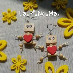 Orecchini Robot in legno , by Lapinoma idee in legno e non solo, 12,00 € su…