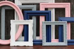 Pink and Navy Blue Baby Girl Nursery Frame by hydeandchicboutique, $52.00