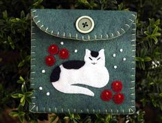 Cat coin purseChristmas cat purseCat with by PuffinPatchwork