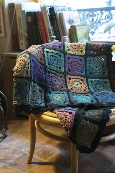 """Ravelry: 124-1 Crochet blanket in """"Delight"""" and """"Fabel"""" pattern by DROPS design"""