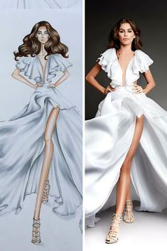 27 Bridal Illustrations From Popular Dress Designers ❤ bridal illustrations ball gown v neckline with sleeves high slit michael costello ❤ See more: http://www.weddingforward.com/bridal-illustrations/ #weddingforward #wedding #bride #bridalgown