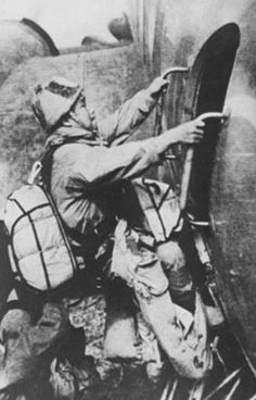 japanese paratrooper entering in a Ki-57 transport plane before the attack on American air bases on Luzon and Leyte on the night of 6 December 1944