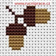 Acorns, free cross stitch patterns and charts - www.free-cross-stitch.rucniprace.cz