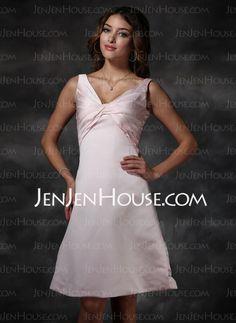 Bridesmaid Dresses - $90.99 - A-Line/Princess V-neck Knee-Length Satin Bridesmaid Dresses With Ruffle (007000919) http://jenjenhouse.com/A-line-Princess-V-neck-Knee-length-Satin-Bridesmaid-Dresses-With-Ruffle-007000919-g919