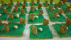 Soccer snacks- graham cracker, kids put green frosting and the two teddy grahams.  The ball could be white chocolate chips?