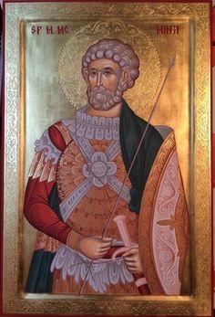 Saint Menas / Άγιος Μηνάς Russian Icons, Byzantine Icons, Orthodox Christianity, Black History Facts, Orthodox Icons, Saints, Religion, Artwork, Painting