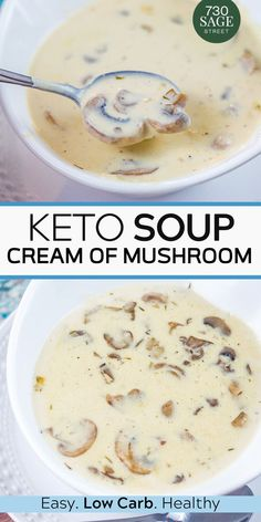 Keto Cream of Mushroom Soup This homemade cream of mushroom soup is easy to make and delicious. It's also low carb so it's perfect for keto and other lower carb diets Keto Mushrooms, Creamed Mushrooms, Stuffed Mushrooms, Keto Foods, Ketogenic Recipes, Low Carb Vegetarian Diet, Low Carb Keto, Vegetarian Italian, Vegetarian Soup