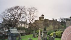 Beloved Edinburgh, Scotland view to Carlton Hill taken from cemetery adjacent to bus terminal.