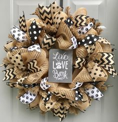 Dog Wreath, Pet Wreath, Dogs Make Me Happy People Not So Much Burlap Deco Mesh Wreath - Wreath Mesh Ribbon Wreaths, Deco Mesh Wreaths, Burlap Wreaths, Flower Wreaths, Holiday Wreaths, Holiday Crafts, Fall Crafts, Holiday Ideas, All You Need Is