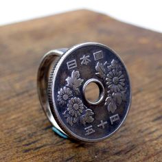 NIPPON  Japanese  coin and sterling silver ring