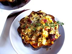 Stuffed Acorn Squash (Brown rice, spinach, dried cranberries, Grannie Smith apple, walnuts, topped w swiss cheese...or some similar tasty combo)  *