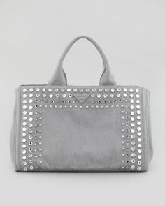 Studded Denim Tote Bag, Blue-Gray by Prada at Bergdorf Goodman.