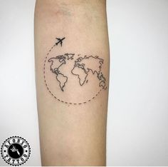 Travel Tattoo World Map Airplane - Tattoos & Piercing - . - Travel Tattoo World Map Airplane – Tattoos & Piercing – … – tattoo – - World Travel Tattoos, World Map Tattoos, Tattoo Travel, Small Travel Tattoo, Traveler Tattoo, Mini Tattoos, Small Tattoos, Cool Tattoos, Strong Tattoos