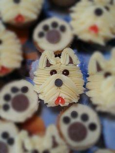 Dog Paw Print Cupcakes