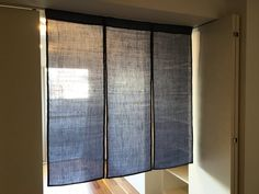 This is a listening for a order made noren curtain whit 3 panels of woven linen fabric The dimension of the total of the noren curtain my varies between 39,5 to 63 inches ( 1.00 to 1.60 m) of width and 39,5 to 55 inches ( 1.00 to 1.40 m) of length. If you need bigger or smaller dimensions please contact me before you purchase the noren curtain. This Noren exemplified in the photos were made for a window whit 50x50 inches or (1.28x1.28 m). This japanese noren is made of 3 gray blue… Japanese Wall, Japanese House, Japanese Design, Noren Curtains, Door Curtains, Fabric Panels, Linen Fabric, Wall Fabric, Curtain Fabric