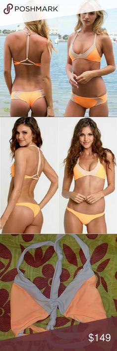 Acacia swimwear sunset naked biarritz bikini top P Biarritz in sunset naked colorblock by acacia swimwear. Petiti XS. Bright neon orange with beige colorblocking. Absolutely stunning color combo. Discontinued style & print from the 2014 pa 'ana a ka la collection. No trade please. The price is firm  *Do not ask me to lower! This was purchased when biarritz & yelapa tops were selling at 2-3x retail, and I am losing money There are the faintest streaks on the sunset areas, mostly at the…