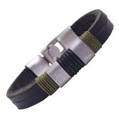 R&B Joyas - Pulsera de hombre, brazalete estilo ejército, cierre sólido, cuero, cuerda y metal, color negro / verde caqui / plateado: Amazon...