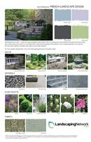 French Landscape Style Guide;    Use this design sheet to help you create the perfect France-inspired landscape. You'll get ideas for color, décor, materials, plants and fabric. It is a great starting point for any landscaping project