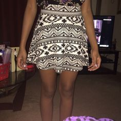 Aztec Print Circle Shirt Black and white Aztec print circle skirt with gold zipper in the back Charlotte Russe Skirts Circle & Skater