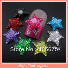 Glitters crystal flat back 3D Flower Satr resin nails art charms DIY nail salon decoration supplies 100 pcs wholesale £3.62